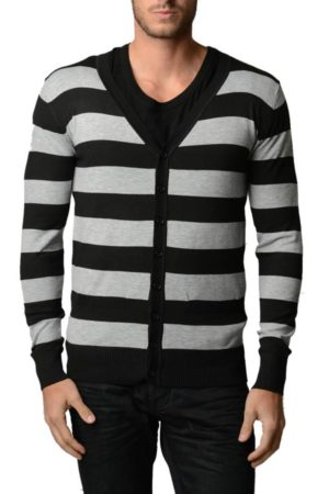 L.Grey And Black Horizontal Striped Cardigan
