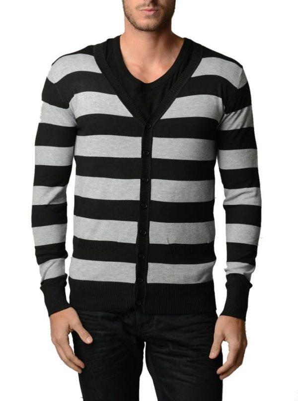 L.Grey And Black Horizontal Striped Cardigan