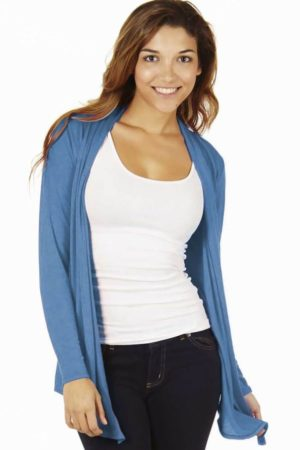 Denim Colored Waterfall Cardigan