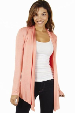 Peach Colored Waterfall Cardigan