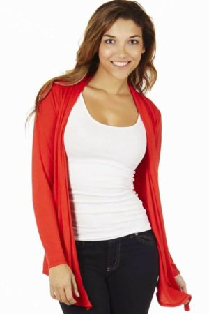 Red Colored Waterfall Cardigan