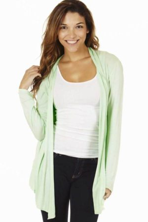 Mint Colored Waterfall Cardigan