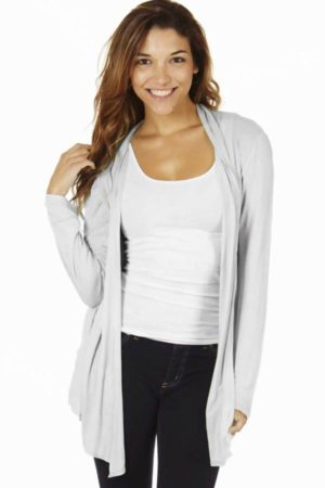Waterfall Light Grey Colored Cardigan