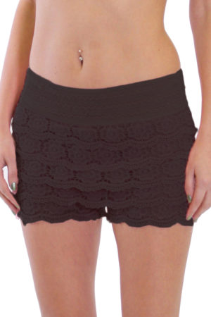 Black Cotton Crochet Shorts