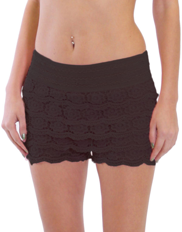 Black Cotton Crochet Shorts