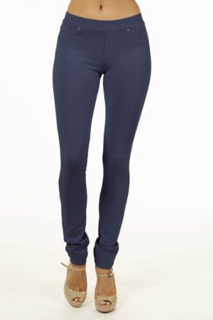 Navy Brazilian Moleton Jeggings
