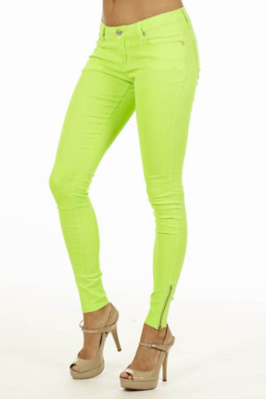 Ankle Zip Neon Green Jeans