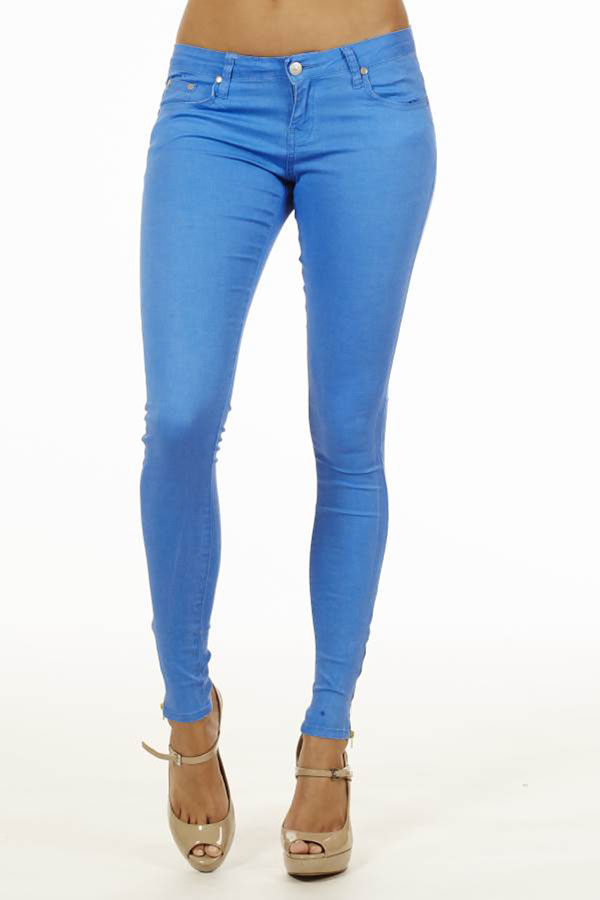 Blue Neon Jeans With Ankle Zipper