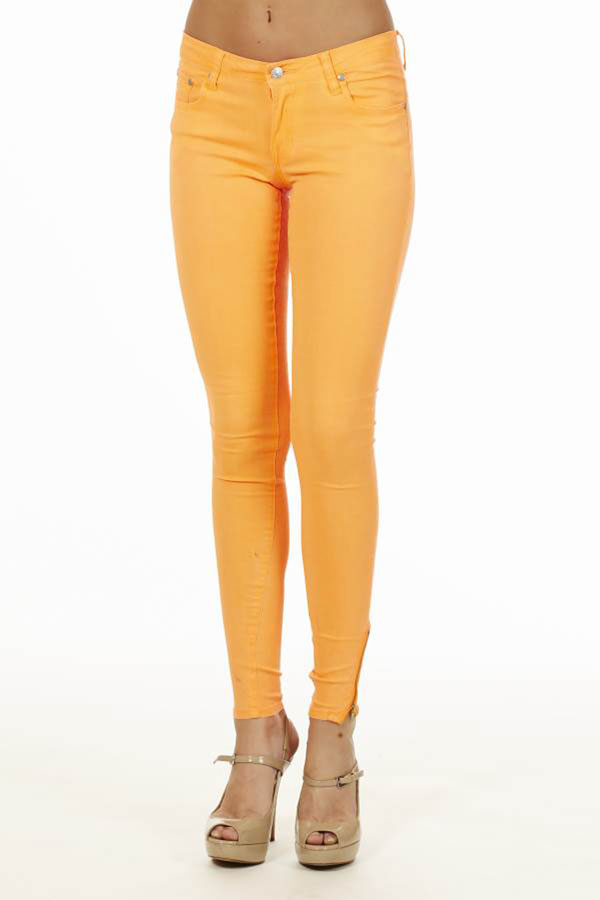 Ankle Zip Neon Orange Jeans