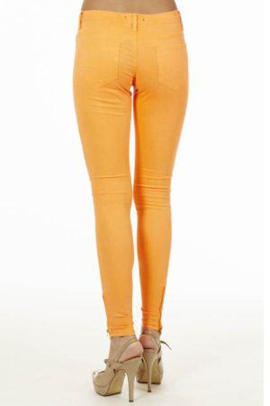 Ankle Zip Neon Orange Jeans