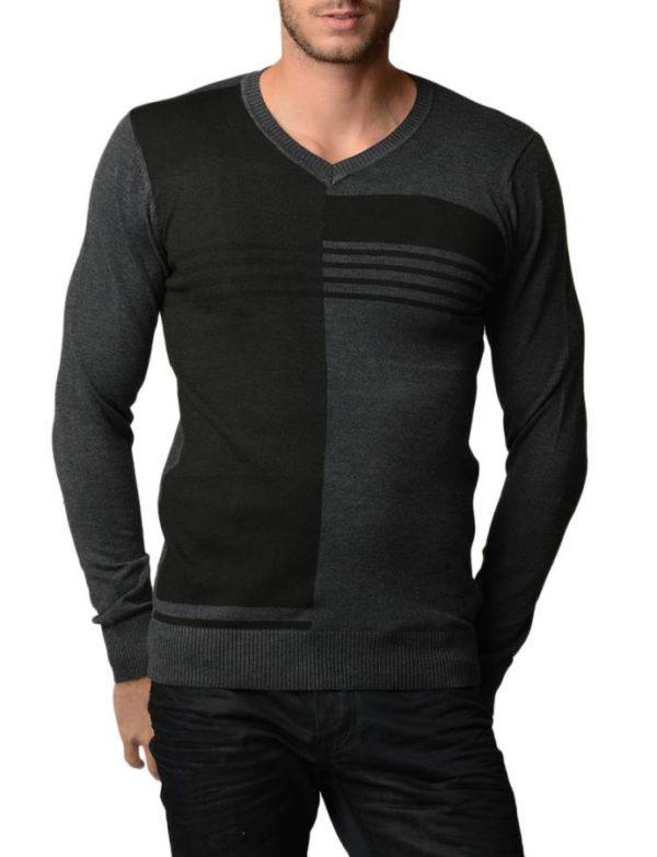 Men's Polar Black And Charcoal V Neck Sweater