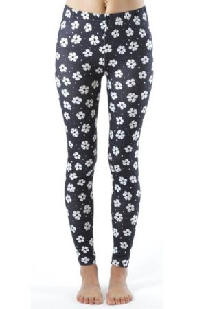 White Floral Spotted Footless Leggings