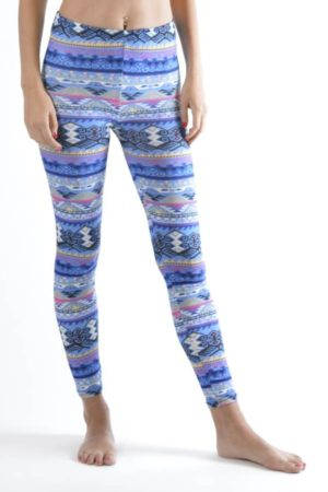 Tribal Weave Winter Blue Ankle Leggings