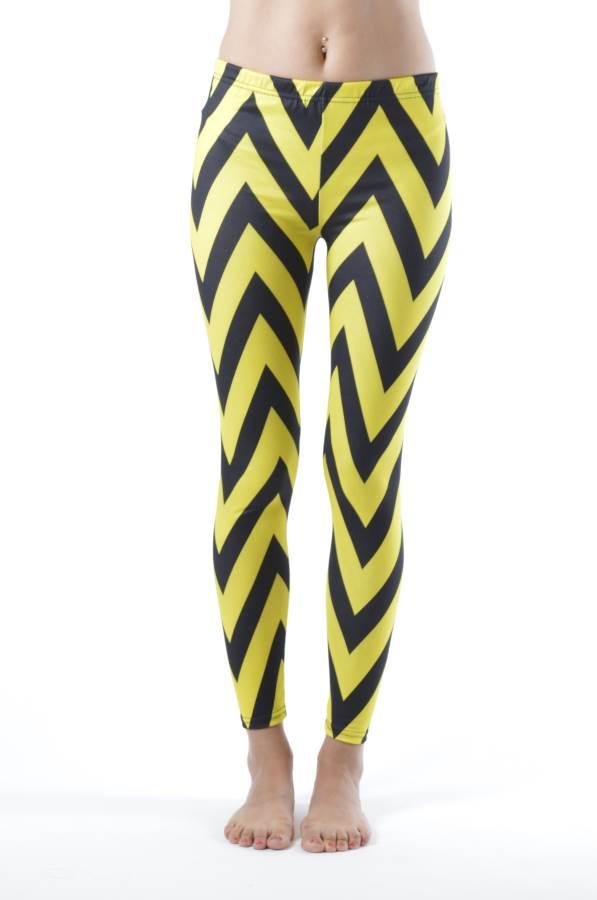 Ankle Length Chevron Yellow Leggings