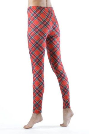 Ankle Length Red Plaid Leggings