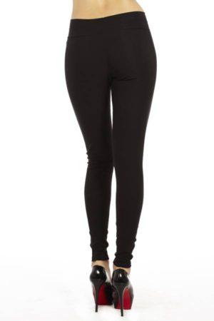 Black Leather Front Leggings