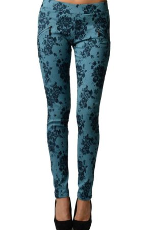 Floral Blue Cross Ziper Jeggings