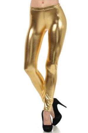Gold Metallic Footless Leggings