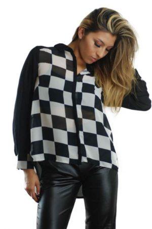 Mod Long Sleeve Checkered Chiffon Blouse