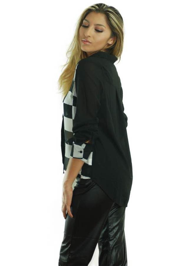 Mod Long Sleeve Checkered Chiffon Blouse