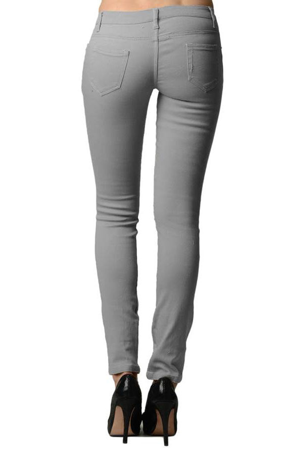 Smooth Grey Colored Denim - Skinny Jeans