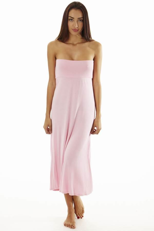 Fitted Waist Pink Maxi Dress
