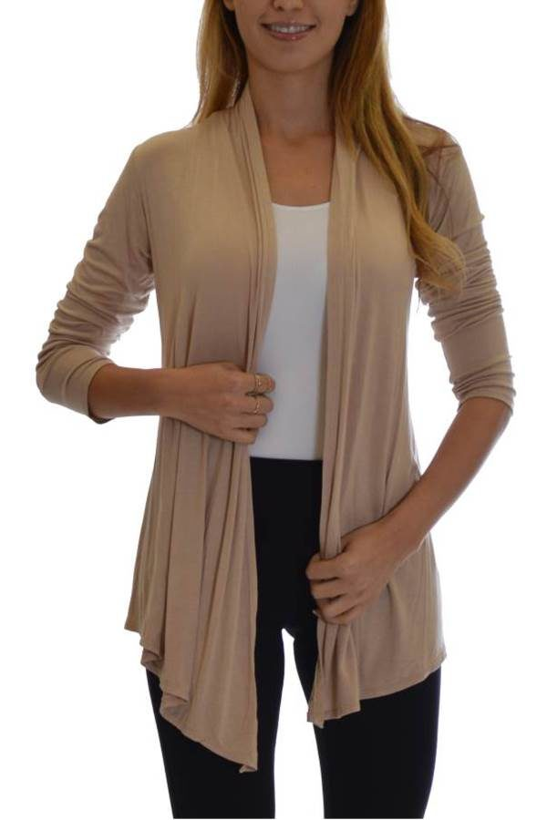 Taupe Colored Waterfall Cardigan