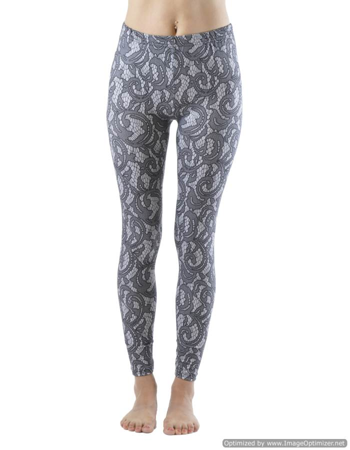 Elegant Lace Print Ankle Leggings