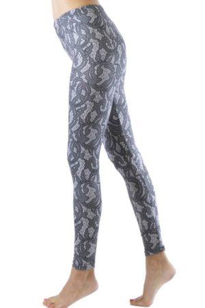 Elegant Lace Print Ankle Leggings
