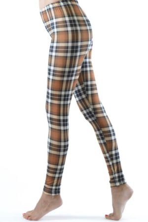 Brown Patch Plaid Ankle Leggings