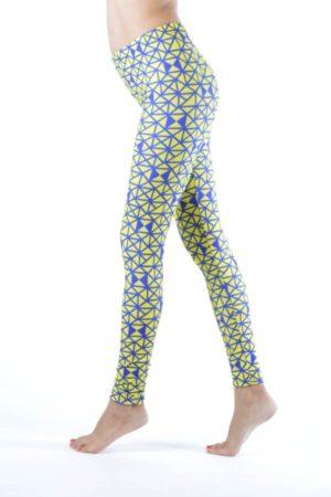 Plus Size Geometric Prism Print Blue And Yellow Leggings