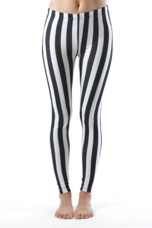Jailbird Black And White Stripe Plus Size Ankle Leggings