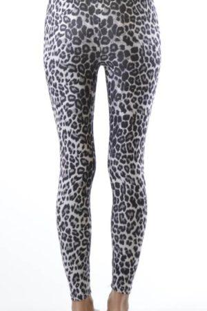 Plus Size Grey Leopard Ankle Length Leggings