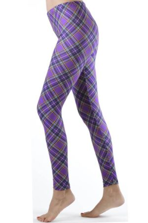 Footless Violet Patch Plaid Plus Size Leggings