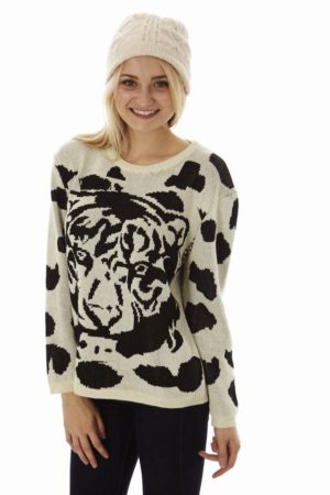 Cream Tiger Face Sweater