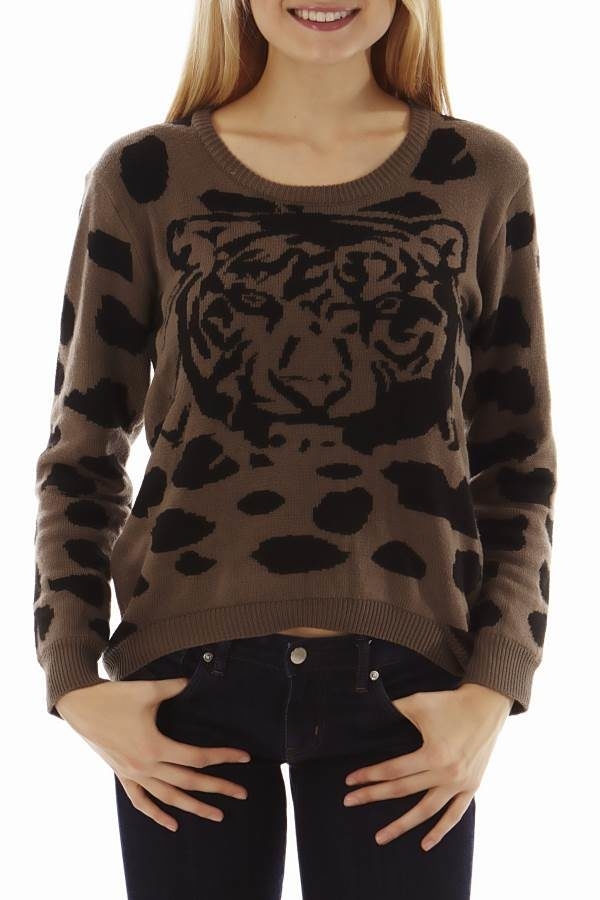 Brown Tiger Head Sweater