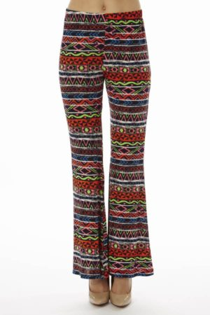 Red Tribal Wide Leg Palazzo Pants