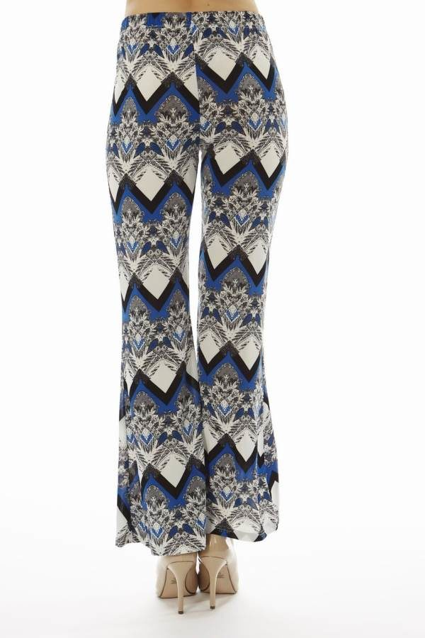 Navy Snow Flake Wide Leg Palazzo Pants