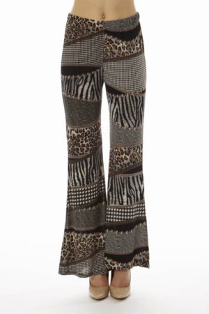 Black Patched Animal Prints Wide Leg Palazzo Pants