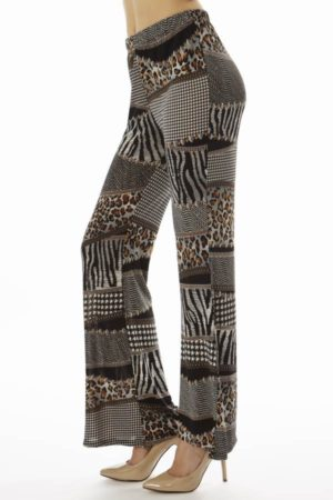 Black Patched Animal Prints Wide Leg Palazzo Pants