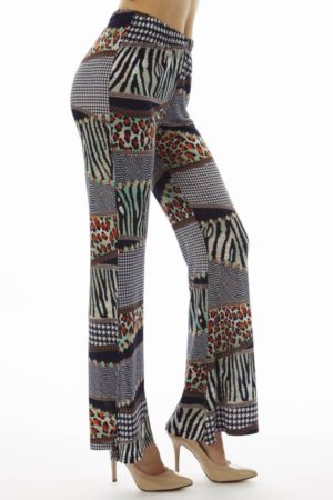 Navy Patched Animal Prints Wide Leg Palazzo Pants