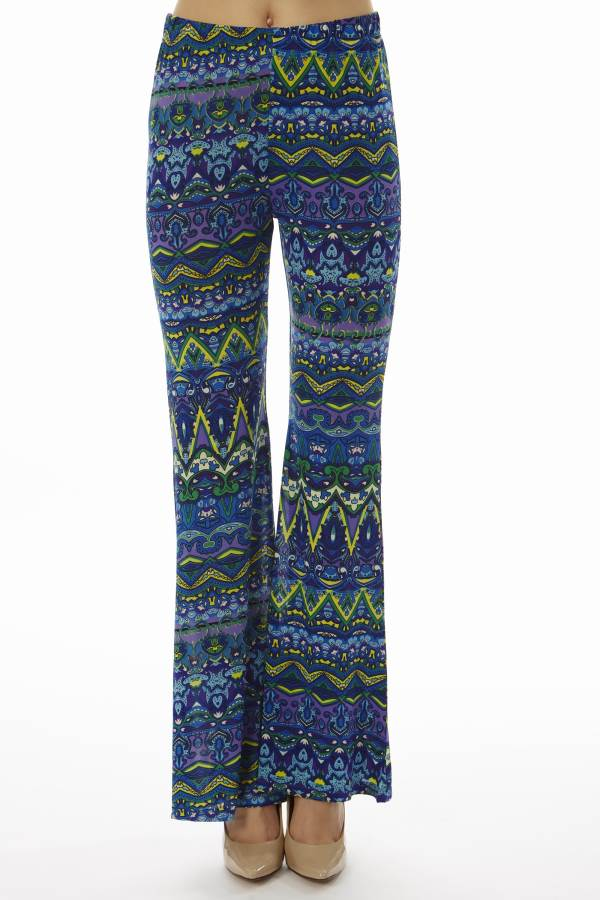 Low Waisted Tribal Blue Palazzo Pants