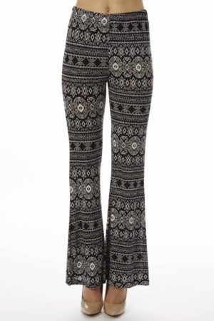 Low Waisted Black Tribal Palazzo Pants
