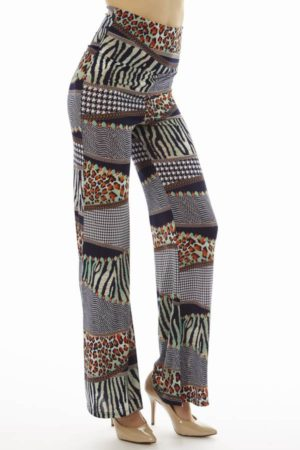 High Waist Navy Animal Skin Patch Palazzo Pants