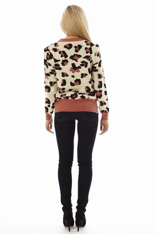Leopard Face Salmon Pink Sweater
