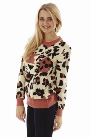Leopard Face Salmon Pink Sweater