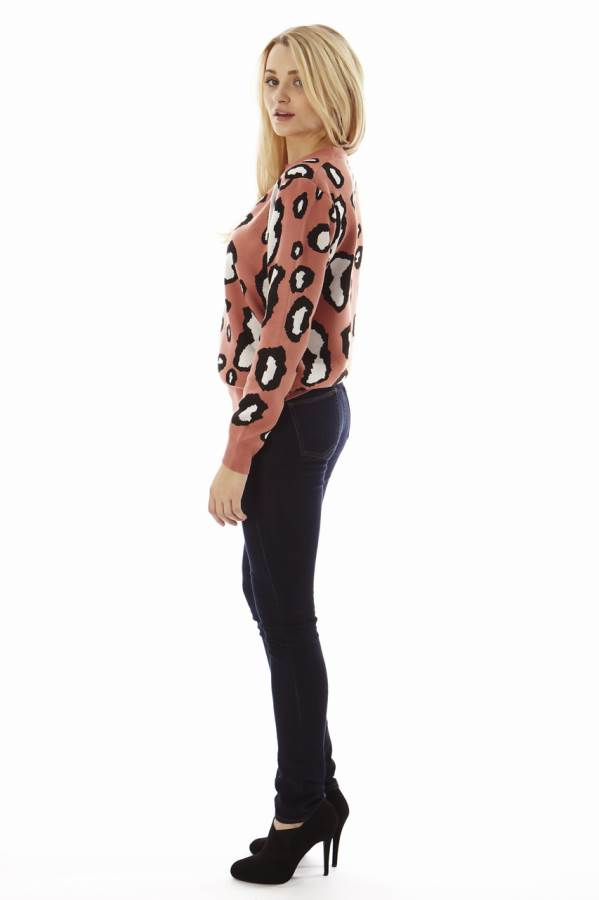 Leopard Print Salmon Pink Pullover Sweater