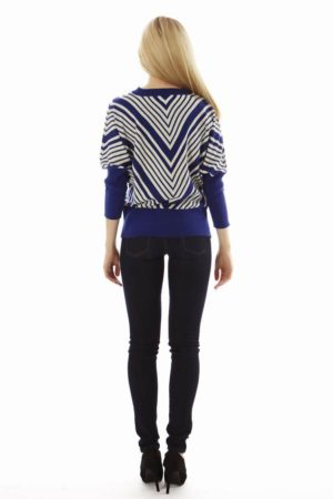 Dolman Sleeve Blue Chevron Pullover Sweater