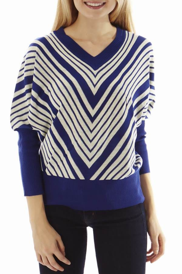 Dolman Sleeve Blue Chevron Pullover Sweater