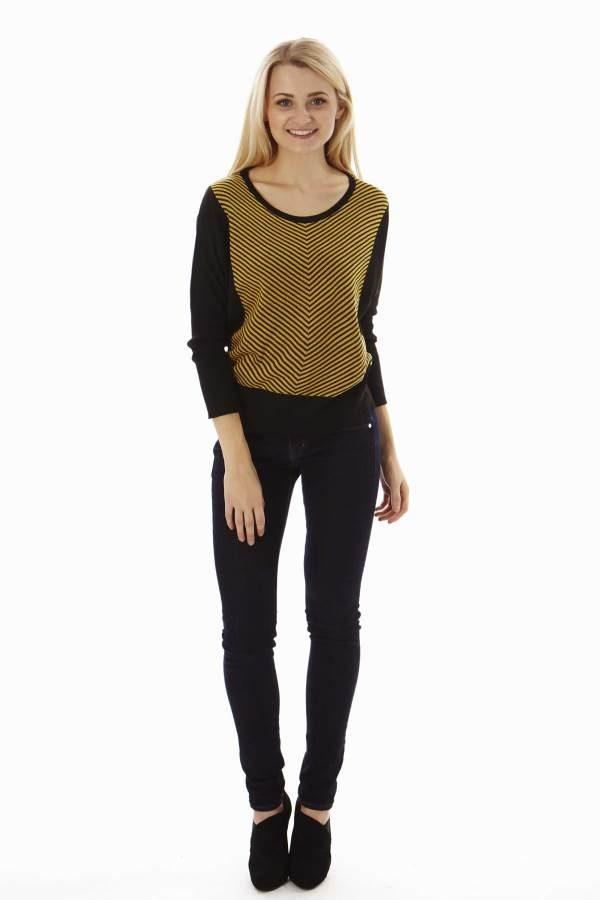 Dolman Sleeve Yellow Mini Chevron Pullover Sweater